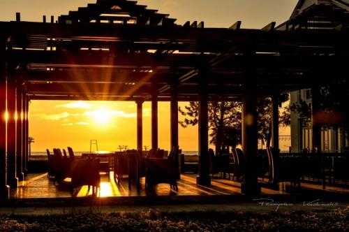 Zachód słońca nad Morzem Czarnym z hotelu Oasis w Chakvi, Gruzja - maj 2011